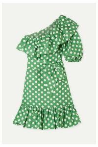 Lisa Marie Fernandez - Arden Ruffled One-shoulder Polka-dot Linen Mini Dress - Green