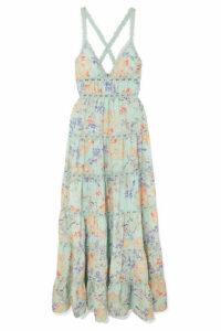 Alice + Olivia - Karolina Crochet-trimmed Floral-print Chiffon Maxi Dress - Light blue