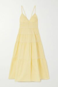 LoveShackFancy - Angie Gathered Floral-print Silk-georgette Maxi Dress - Light blue