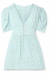 LoveShackFancy - Ruby Floral-print Silk Crepe De Chine Mini Dress - Sky blue