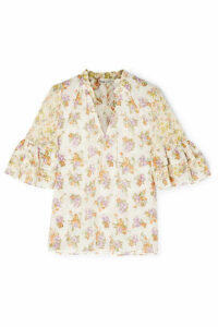 Alice + Olivia - Julius Floral-print Cotton And Silk-blend Voile Blouse - Cream