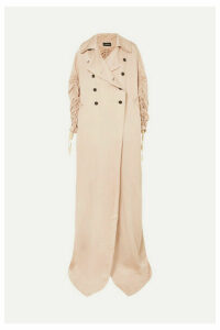 Ann Demeulemeester - Oversized Ruched Double-breasted Crepe De Chine Coat - Blush