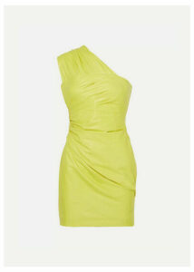 Versace - One-shoulder Ruched Leather Mini Dress - Yellow