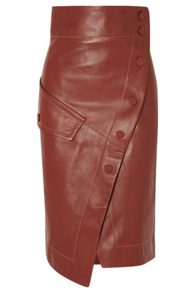Petar Petrov - Button-detailed Leather Wrap Midi Skirt - Brown