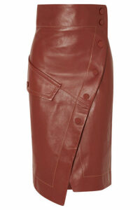 Petar Petrov - Button-detailed Leather Wrap Midi Skirt - Brown