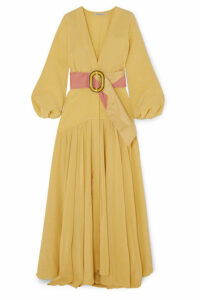 Silvia Tcherassi - Felicity Belted Silk Crepe De Chine Maxi Dress - Yellow