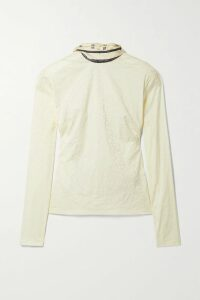 Valentino - Pleated Printed Cotton And Silk Blend-poplin And Velvet Gown - Pink