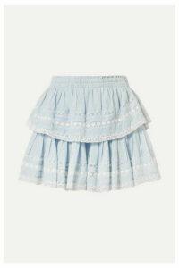 LoveShackFancy - Riviera Tiered Crochet-trimmed Cotton-voile Mini Skirt - Sky blue