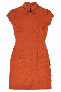 ALEXACHUNG - Bow-embellished Satin-jacquard Mini Dress - Orange