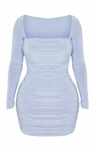 Shape Dusty Blue Slinky Square Neck Ruched Front Bodycon Dress, Blue