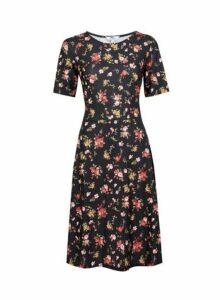 Womens **Tall Black Floral Print Dress- Black, Black