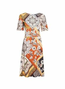 Womens **Tall Orange Paisley Print Dress- Orange, Orange