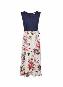 Womens **Billie & Blossom Tall Navy Floral Print Midi Dress- Blue, Blue