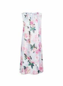 Womens **Billie & Blossom Tall Grey Floral Print Trapeze Dress- Grey, Grey