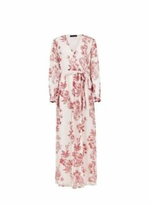 Womens Pink Floral Long Sleeve Maxi Dress- Pink, Pink