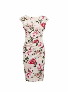 Womens **Billie & Blossom Blush Floral Print Ruched Bodycon Dress- Pink, Pink
