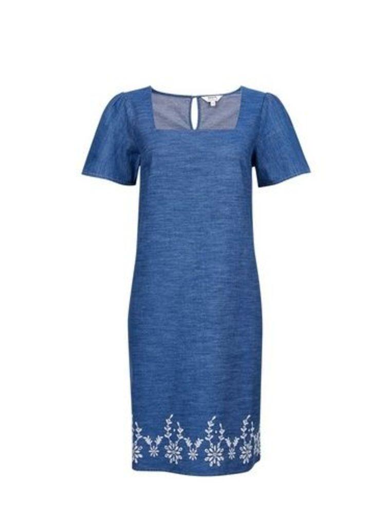 Womens Blue Broderie Shift Dress- Blue, Blue