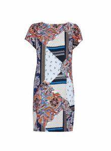Womens **Billie & Blossom Navy Mix Print Shift Dress- Blue, Blue