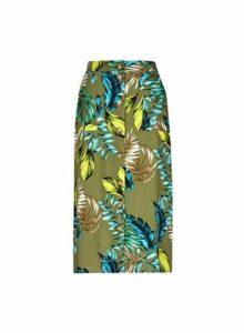 Womens Khaki Midi Skirt- Khaki, Khaki