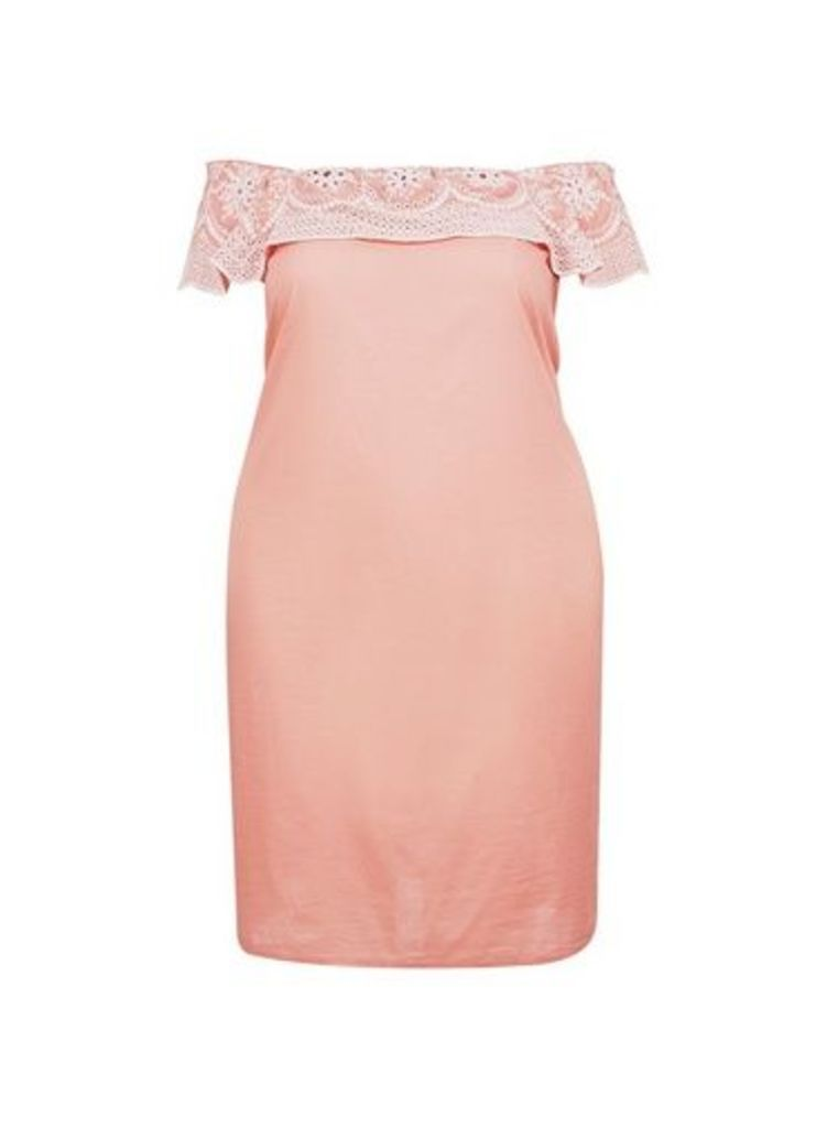 Womens **Dp Curve Coral Broderie Bardot Cotton Dress, Coral
