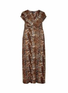 Womens **Dp Curve Multi Colour Snake Print Wrap Maxi Dress- Multi Colour, Multi Colour