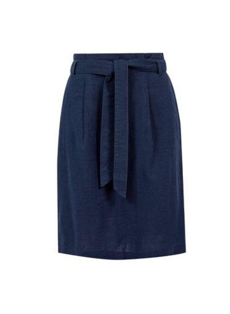 Womens **Tall Navy Linen Blend Skirt- Blue, Blue