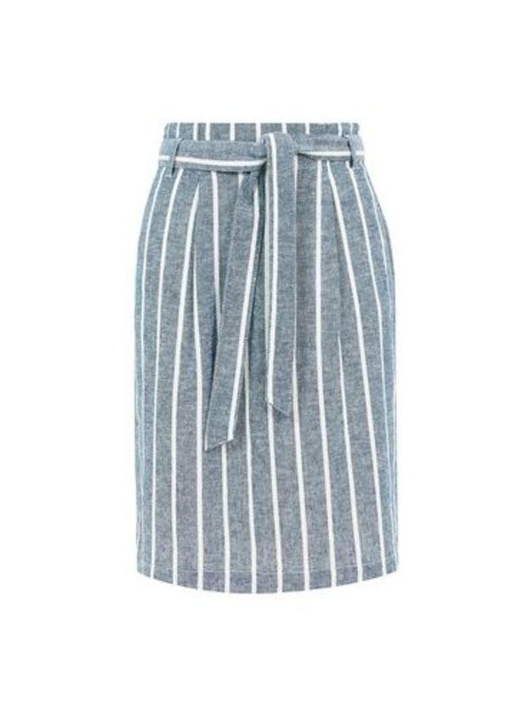 Womens **Blue Tall Striped Linen Blend Skirt- Blue, Blue