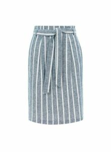 Womens **Blue Tall Striped Skirt With Linen- Blue, Blue