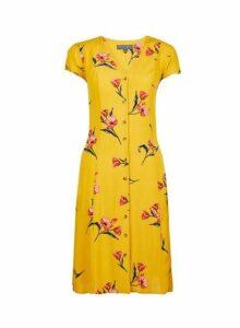 Womens **Tall Yellow Floral Print Dress- Orange, Orange