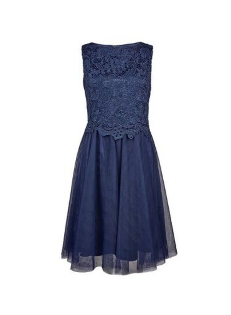 Womens **Showcase Navy Prom Dress- Blue, Blue