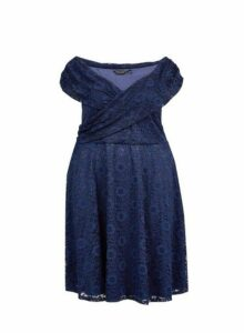 Womens **Dp Curve Navy Lace Fit And Flare Dress- Blue, Blue