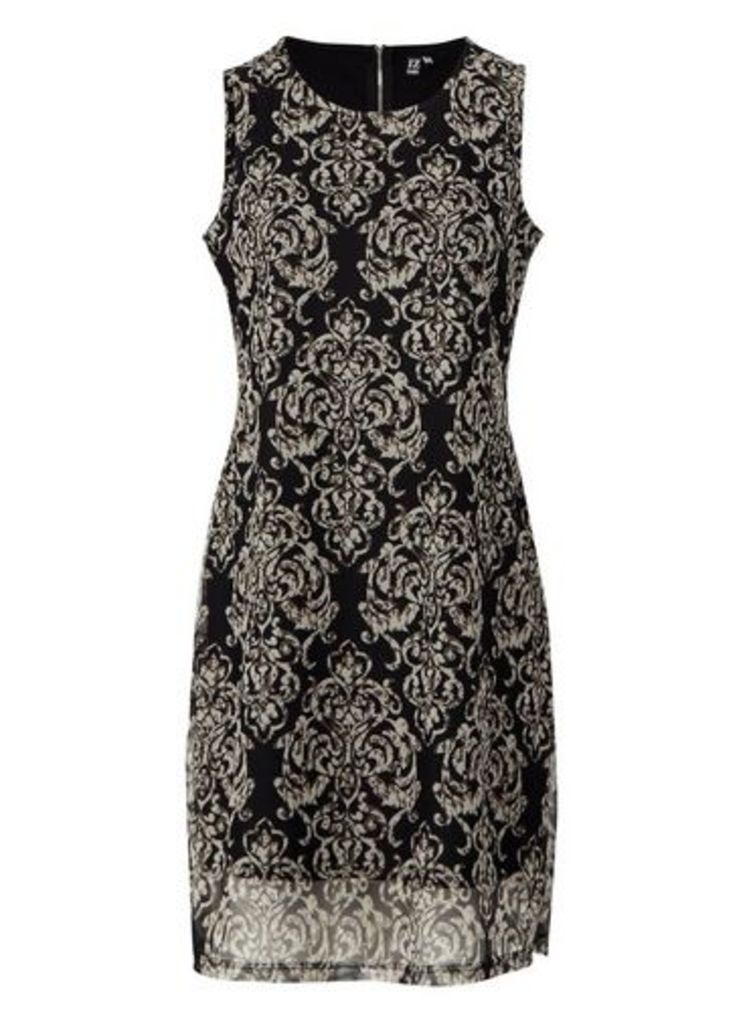Womens *Izabel London Black Damask Print Shift Dress- Black, Black