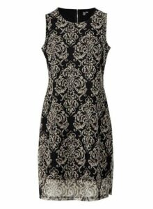 Womens *Izabel London Black Damask Print Shift Dress- Black, Black