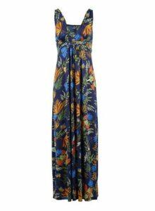Womens *Izabel London Navy Tropical Print Maxi Dress- Navy, Navy