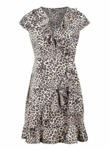 Womens *Izabel London Animal Print Wrap Dress- Beige, Beige