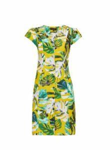 Womens Yellow Leaf Print Shirt Dress, Yellow