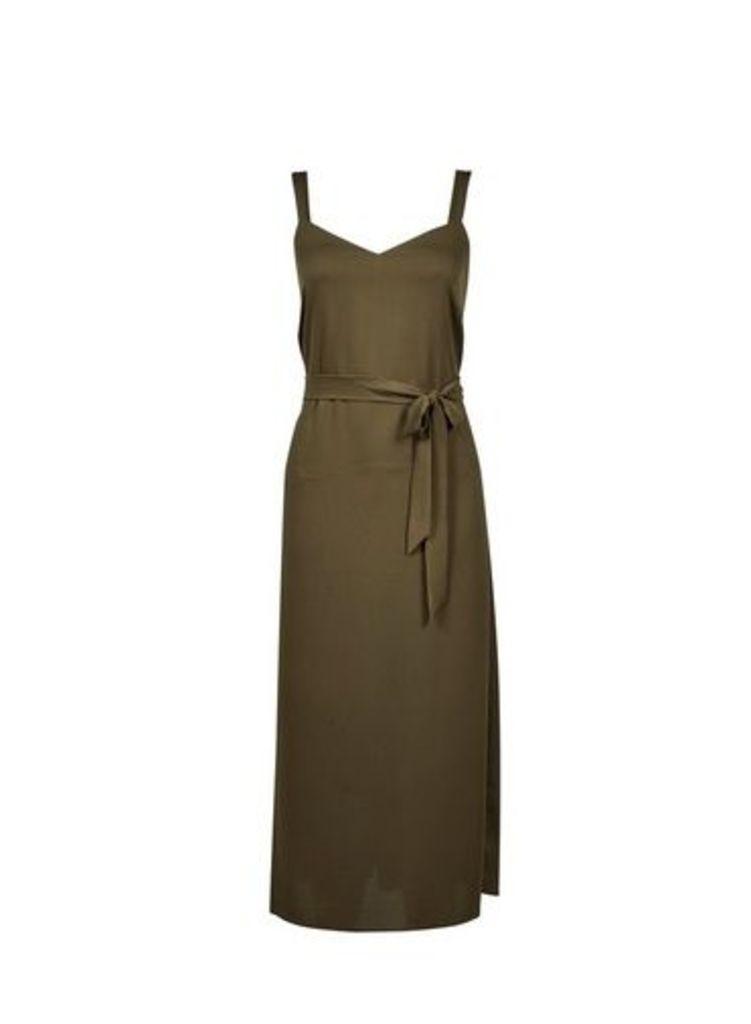 Womens Khaki Tie Waist Midi Slip Dress- Khaki, Khaki