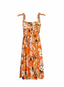 Womens Petite Orange Floral Print Crinkle Skater Dress- Orange, Orange