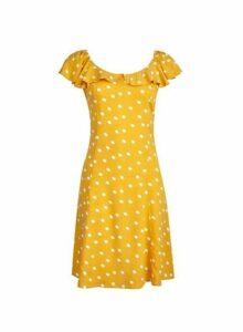 Womens *Yellow Ivory Spot Print Bardot Dress- Yellow, Yellow