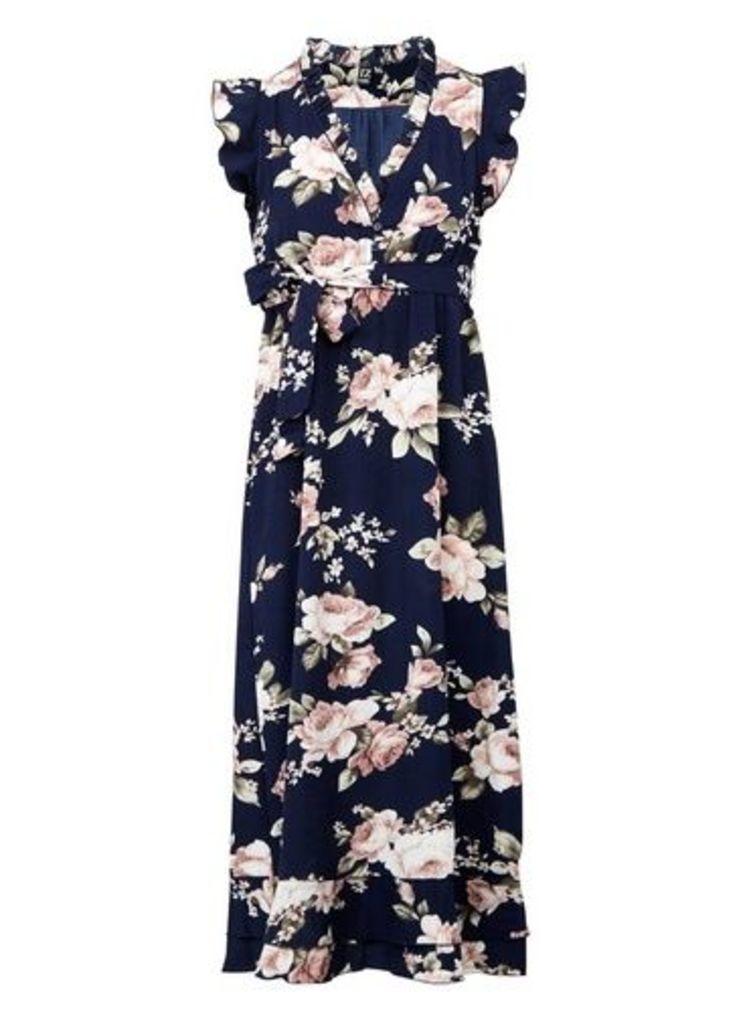 Womens *Izabel London Floral Print Tie Waist Dress- Navy, Navy