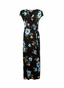 Womens Petite Black Floral Print Maxi Dress- Black, Black