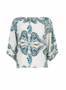 Womens Ivory Paisley Print Batwing T-Shirt- Ivory, Ivory