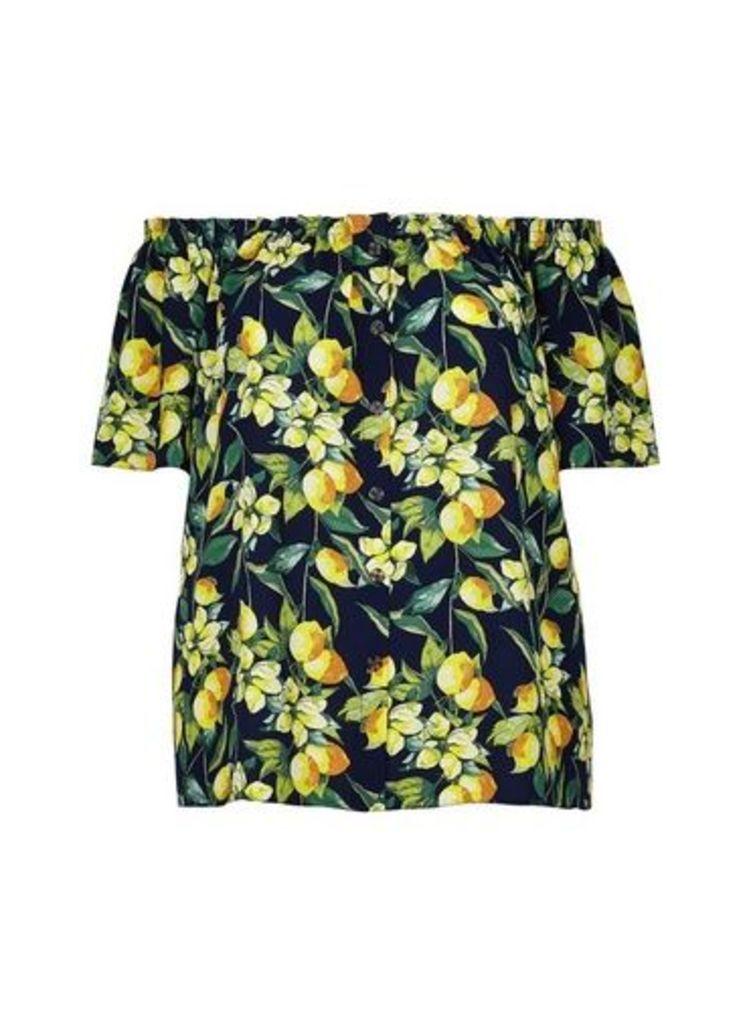 Womens **Dp Curve Navy Lemon Print Bardot Top- Multi Colour, Multi Colour