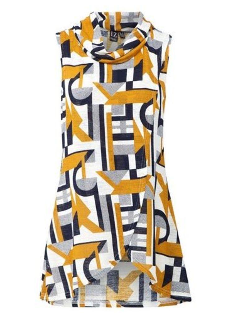 Womens *Izabel London Multi Coloured Geometric Print Tunic Top- Yellow, Yellow