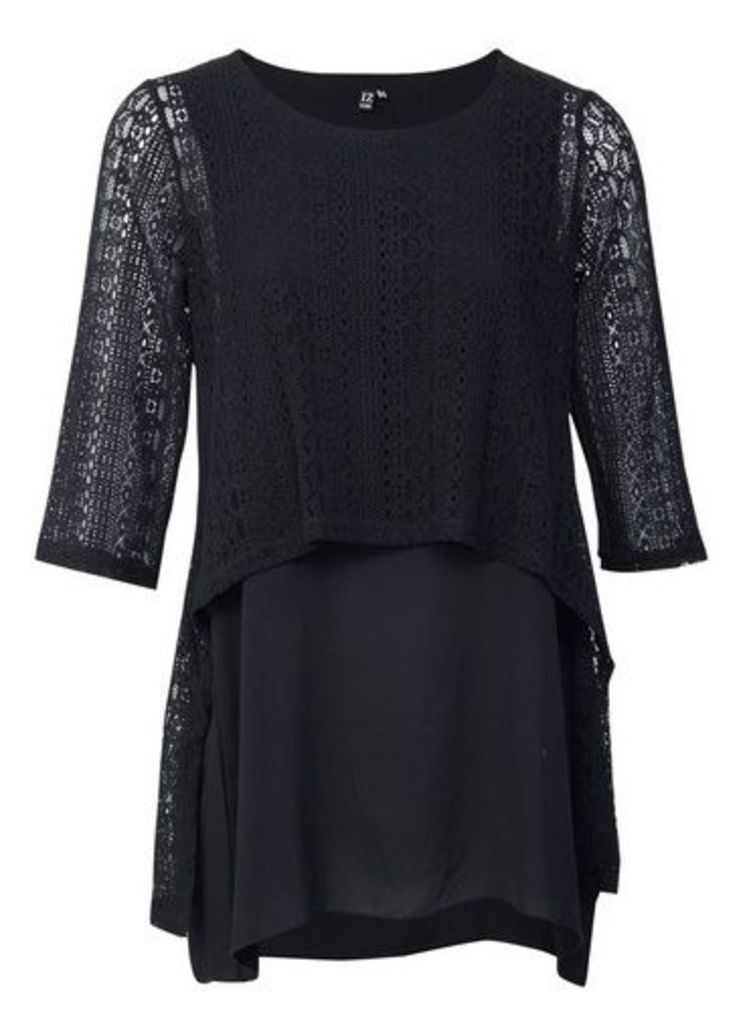 Womens *Izabel London Black Layered Crochet Blouse- Black, Black