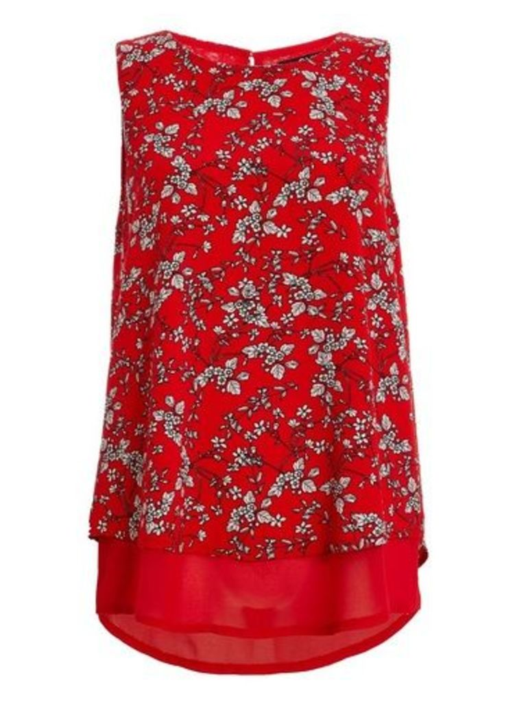 Womens *Quiz Red White Floral Swing Top- Red, Red