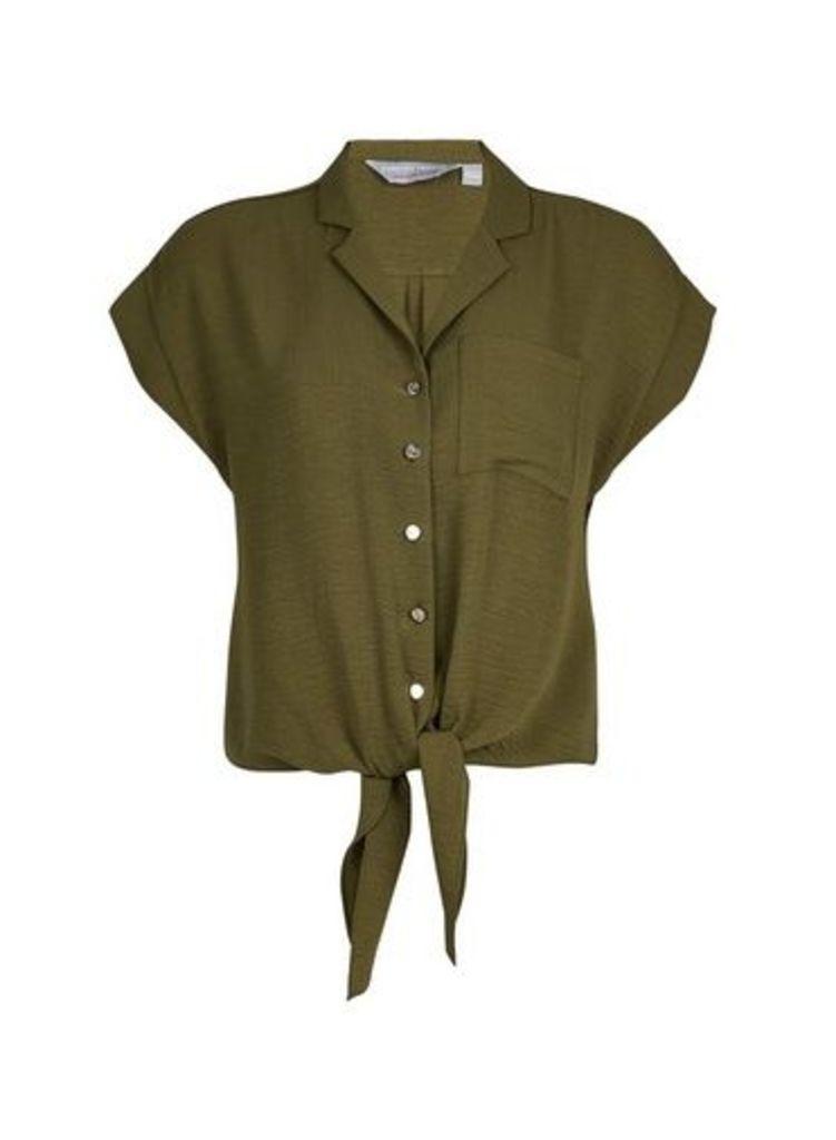 Womens Petite Khaki Tie Front Top- Green, Green