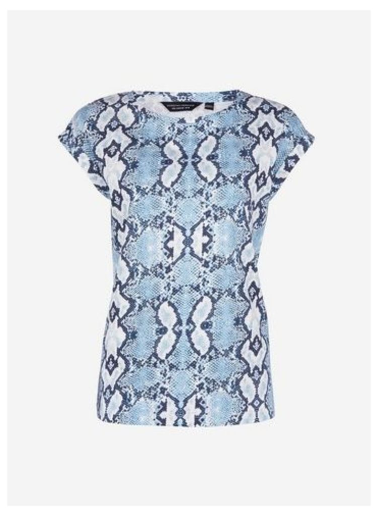 Womens Blue Snake Print Roll Sleeve T-Shirt- Blue, Blue