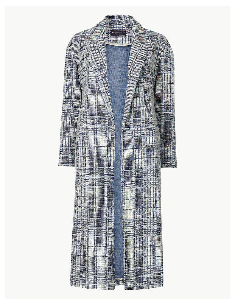 M&S Collection PETITE Checked Open Front Coat