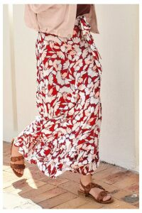Womens Next Floral Ruffle Detail Skirt -  Red